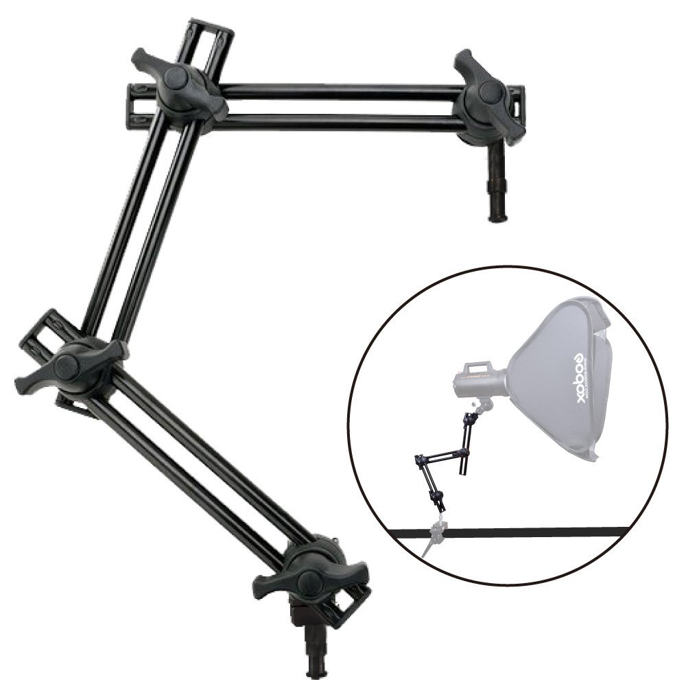 Fotoconic Studio 3-Section Double Articulating Boom Arm Holder Articulated Arm for Studio Photo Video Lighting