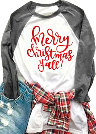 cfa7fbac74ee12 Amazon.com  Women Plus Size Merry Christmas Y all O-Neck Baseball T-Shirt  3 4 Raglan Sleeve Letters Print Top for Women  Clothing