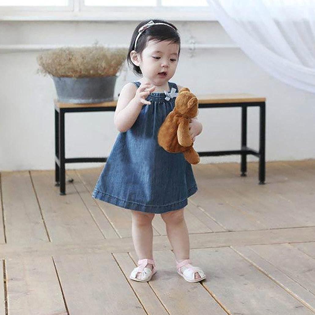 Baby M/ädchen Kleider Longra Kleinkind Baby /Ärmellos Sommerkleider Spaghetti-Kleid Tr/ägerkleid M/ädchen Jeanskleider Denim Kleid Tankshirt Jeans T-Shirt Kleider