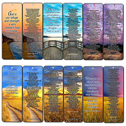 Psalm Bookmarks Cards (60-Pack)- Christian KJV Version Bible Scripture Prayer Cards - Psalm 46, Psalm 91, Psalm 118, Psalm 121, Psalm 139, Psalm 144 - Bible Study Religious Gifts for Men Women by NewEights