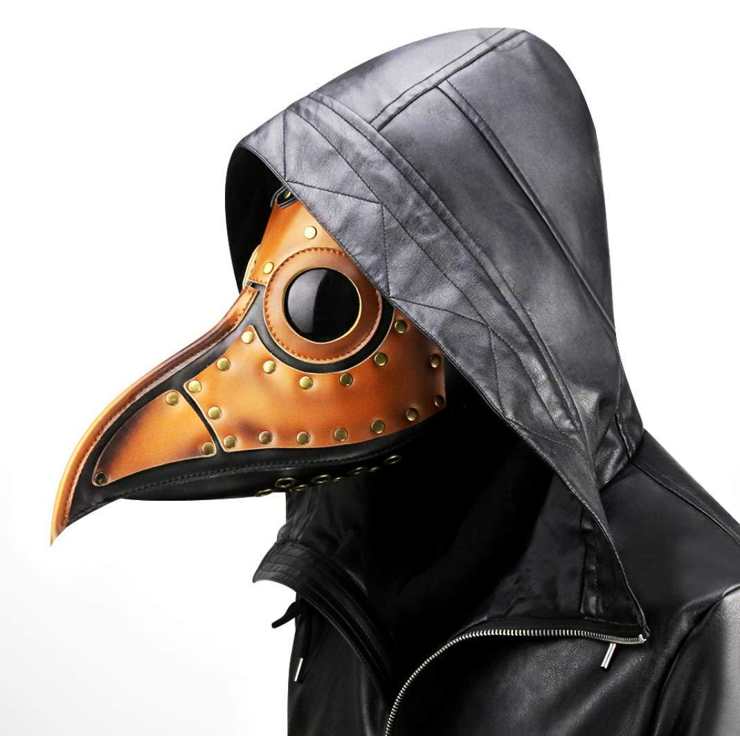 WFTD Máscara De Steampunk, Médico De La Peste Pico Doctor Juego De rol Accesorios PU Cuero Máscara De Halloween Fiesta De Disfraces Marrón