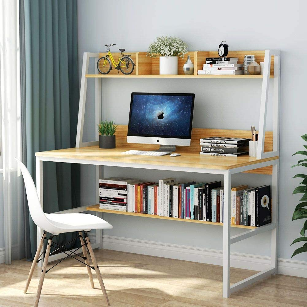 Tribesigns Computer Desk with Hutch and Bookshelf, 50 Inches Home Office  Desk with Space Saving Design for Small Spaces(Light Walnut)