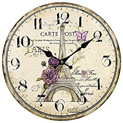 Wood Wall Clock, SkyNature Vintage Rustic Colorful Retro Style Arabic Numerals Design Non -Ticking Silent Quiet Wooden Clock Gift Home Large Decorative for Room Wall Art Decor (14 in, Eiffel tower)