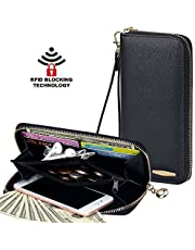 Clutch Wallet, COCASES RFID Protection Large Capacity Women Premium PU Leather Card Holder Purse Handbag with Wrist Strap (Black, Navy Blue, Beige, Red)