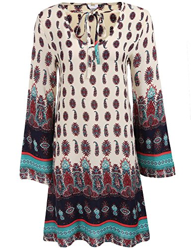 Bohemian Vintage Printed Ethnic Style Loose Casual Tunic Dress Beige