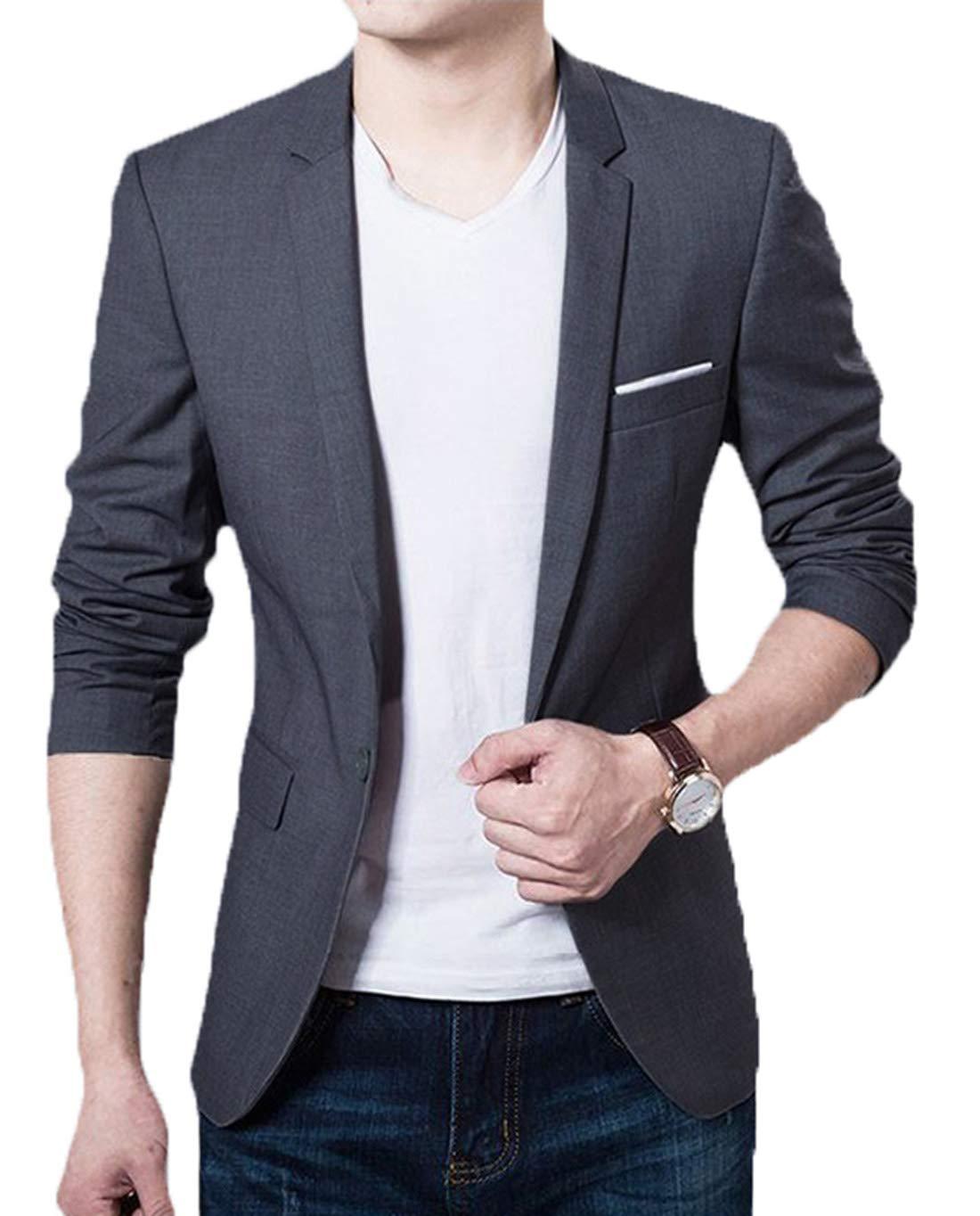 KIWEN Men's Lightweight Slim Fit Casual Wear Suit Blazer Jackets(Gray,M Size) by KIWEN
