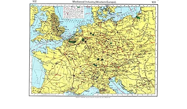Map Of Europe With Scale.Amazon Com Europe Mediaeval Industry Western Europe 1956 Old