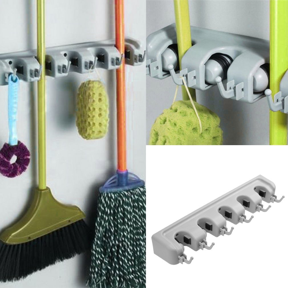 Kloud City Mop Broom Holder Wall Mounted Organizer 5 Position with 6 Hooks Storage Rack for Kitchen Garden Garage Laundry Tools