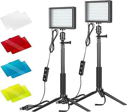 Todo para el streamer: ONSEKO Luz Video LED USB Escritorio con Filtros de 4 Colores y Trípode MAX. 116cm Luz de Relleno LED Colorida de 66 LED para Transmisión en Vivo Iluminación de Fotografía de Mesa Youtube (2 Packs)