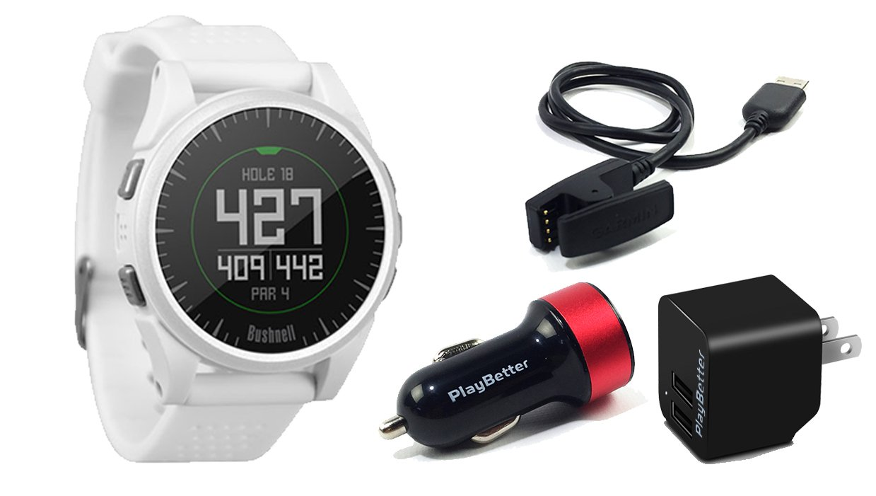 Bushnell Excel (White) Golf GPS Watch | Power Bundle with PlayBetter USB Car & Wall Charging Adapter | Color Display, 35,000+ Worldwide Courses by PlayBetter
