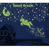 353 PCS Glow in Dark Stars and Moon Castle, Glowing Unicorn for Ceiling and Wall Decals, Kids Bedding Room or Party Birthday Gift