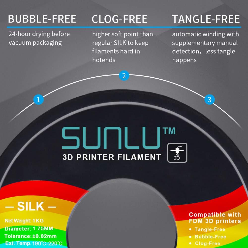 SUNLU PLA Plus 3D Filament 1.75mm for 3D Printer /& 3D Pens 6.6LBS Black+White+Grey PLA+ Filament Tolerance Accuracy +//- 0.02 mm 3KG