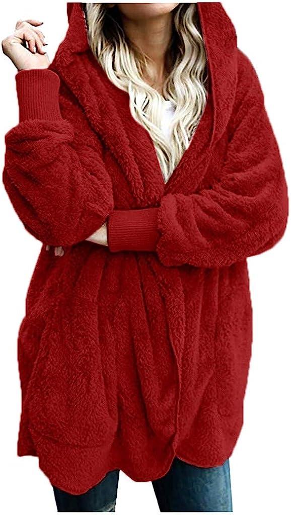Kiminana Womens Long-Sleeved Plush Warm Cotton Cardigan Coat T-Shirt Comfy Casual Tops Robe Knitted Sweater