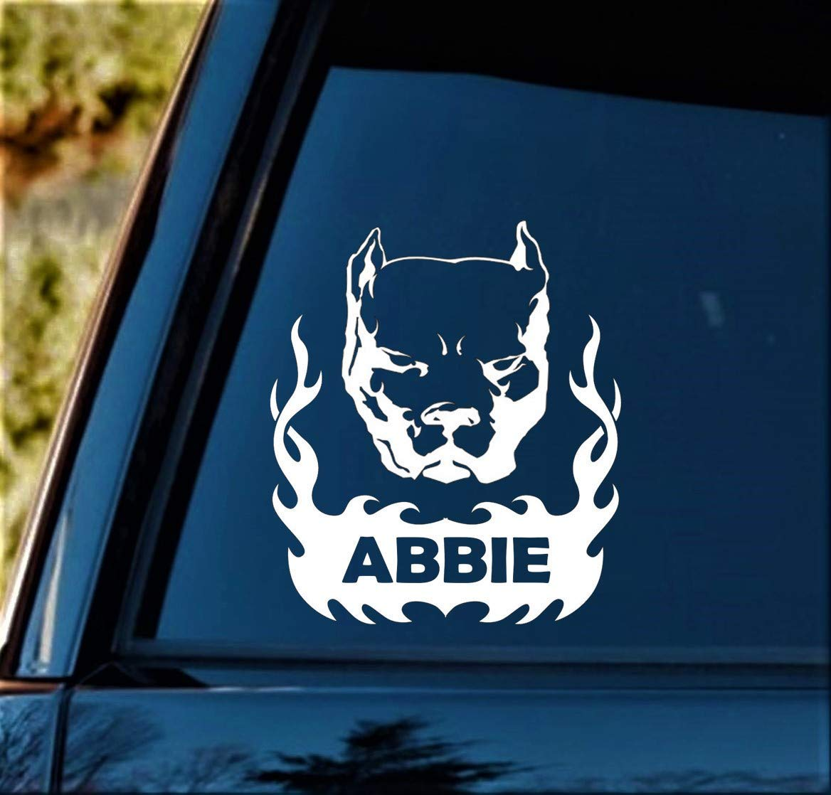 Personalized Custom Name Tribal Pit Bull Decal Sticker for Car Window 6.0 Inch BG 473
