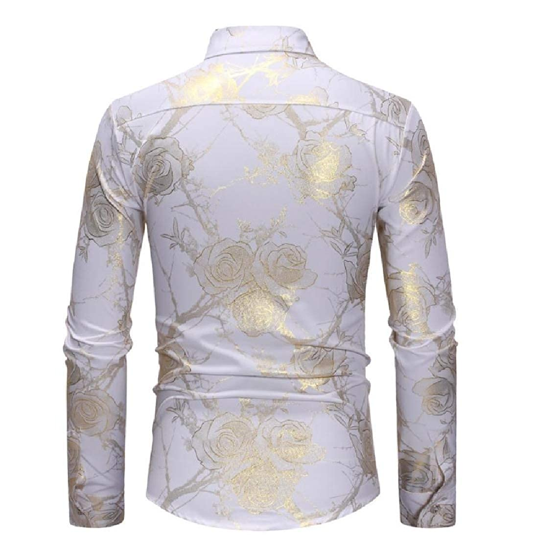 YUNY Mens Business Dress Shirts Floral Printed Tops Button-Down-Shirts White XS