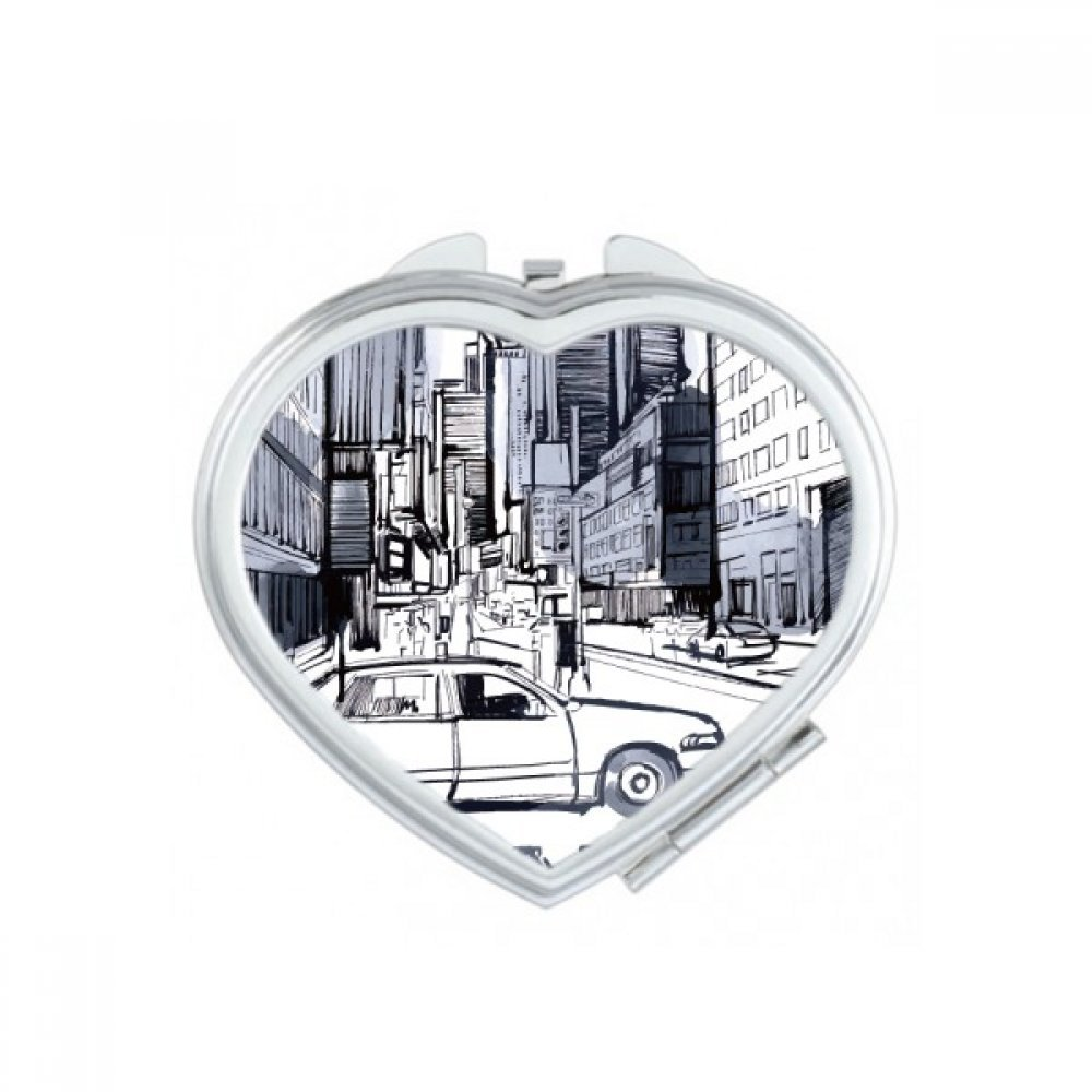 NYC Love New York City America Landscape Heart Compact Makeup Pocket Mirror Portable Cute Small Hand Mirrors Gift