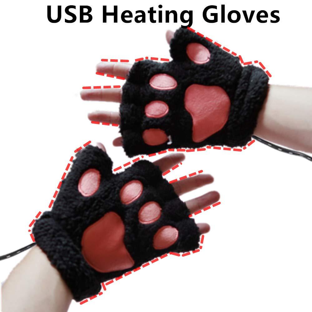 DECVO USB 2.0 Powered Stripes Heating Pattern Knitting Wool Cute Heated Paw Gloves Fingerless Hands Warmer Mittens Laptop Computer Warm Gloves for Women Men Girls Boys (Black) by DECVO