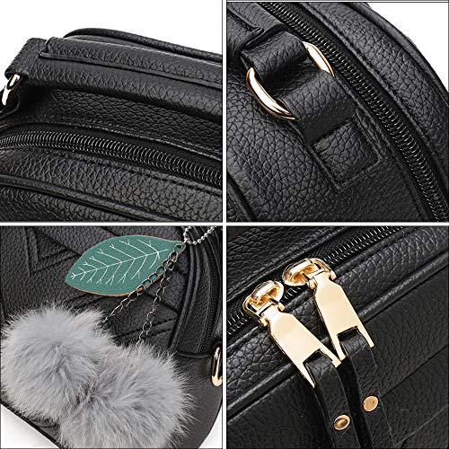 À Dames Épaule Dinglong Main Messenger Pendentif Cheveux Mode Noir Boule Sac 1a0xzqX6p