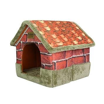 JEELINBORE Vintage Casa Mascotas Cómodo Plegable Portátil Camas Sofás Cojín para Gatos Perros (50 * 45 * 53cm, Verde Gris): Amazon.es: Hogar