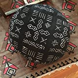 MACKENZIE BRYANT & CO. African Black and White Tribal Print Mudcloth Round Pouf/Poof/Mud cloth/African/Floor Pillow/Dog Bed/23 x 10 Inches/Insert Included