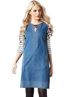 e7594d2f56 Roman Originals Women Shift Denim Dress - Ladies V-Neck Sleeveless Knee  Length Daytime 100%…