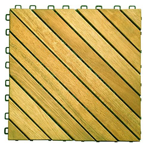 VIFAH V368 Acacia Hardwood 12-Slat Deck Tiles, 10-Pack (Renewed)