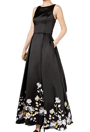 abc2597d5b Betsy   Adam Womens Floral-Print Pleated Gown Dress Black 10 at Amazon  Women s Clothing store