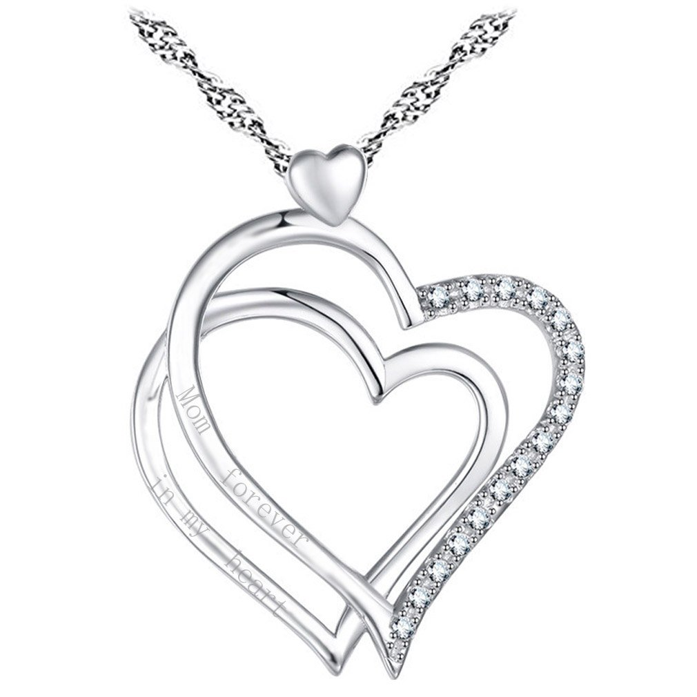 Engraved Pendant Necklace Love Heart Sterling Silver Quote Mom forever in my heart Women Jewelry 18