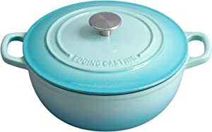 EDGING COOKWARE Enameled Cast Iron Thermal Cooker with Dual Handle, 5 Quart, Peacock Blue