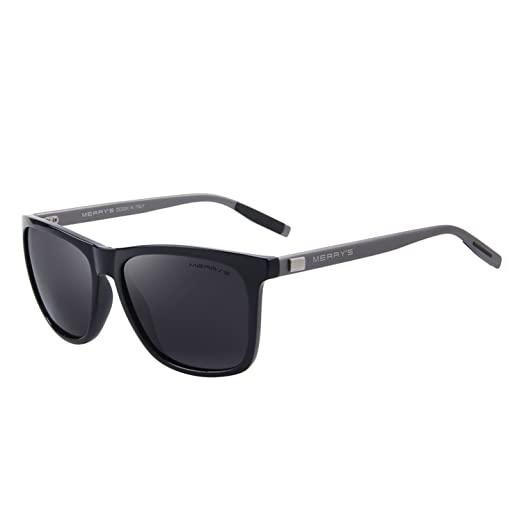 efbff79a75 MERRY S Unisex Polarized Aluminum Sunglasses Vintage Sun Glasses For Men  Women S8286 (Black