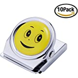 Magnetic Clips 10 Pack Heavy-Duty 1 Inch Metal Magnet Clips with Emoji Designs for Kitchen, Fridge Magnets, Refrigerator Magnets, School, Teachers, Locker Accessories, Classroom and Whiteboard