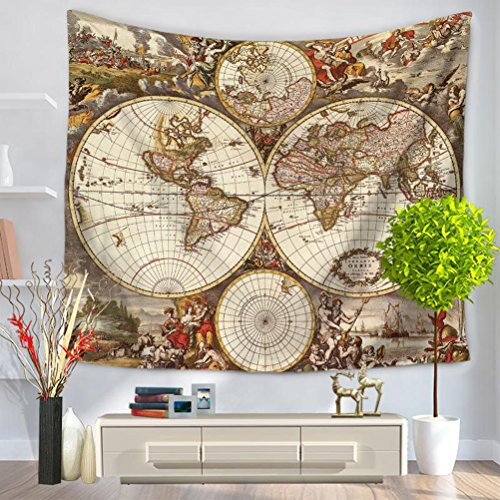 - LANGUGU Wanderlust Decor Tapestry,Antiques Old World Map Globe Art Lounge Decor Antique Traditional Ancient,59 W X 51 L Inches?Wall Hanging for Bedroom Living Room Dorm