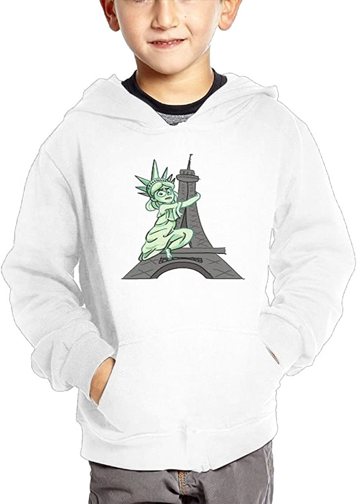 JasonMade Statue Of Liberty embraces Eiffel Towel Kids Fashion Popular Hooded Hoodies With Pocket
