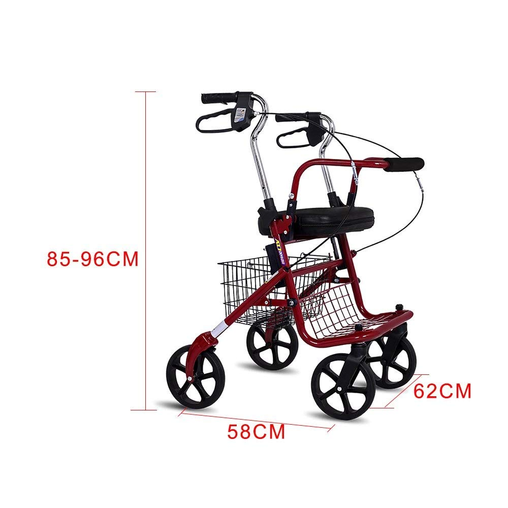 Folding Four-Wheeled Walker Adjustable Height with Seat and Basket for The Elderly Shopping Aluminum Walking Frame Pedal Walker Trolley Auxiliary Walking Safety Walker by YL WALKER (Image #4)