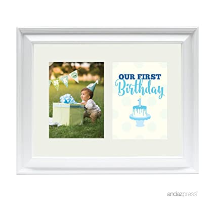Amazon.com: Andaz Press Double White 5x7-inch Photo Frame, Our 1st ...