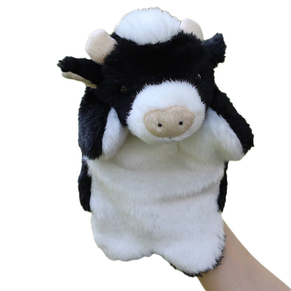ZHOUBA Cartoon Lovely Mini Plush Cow Ox Bull Animal Hand Puppet Kids Interactive Storytelling Toy (1#)