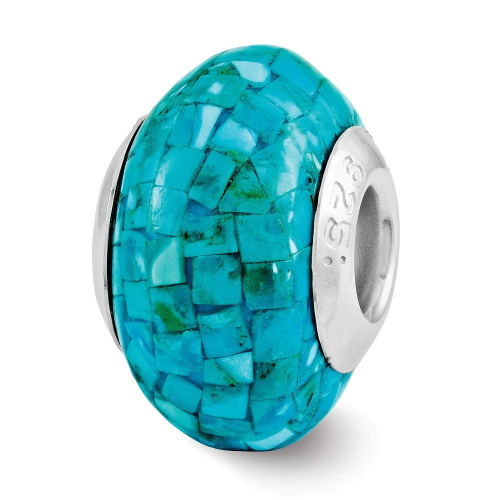 Jewelry Beads Mosaic Sterling Silver Reflections Turquoise Mosaic Bead