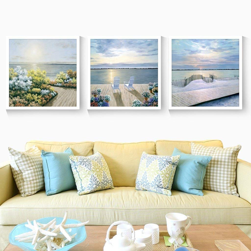 Der Photo Wall 3 Multi Mural Set Solid Wood Sunrise Over The sea Triptych Living Room Mural for Living Room/with Pictures (Color : 4040cm|Dark Wood Color Box)