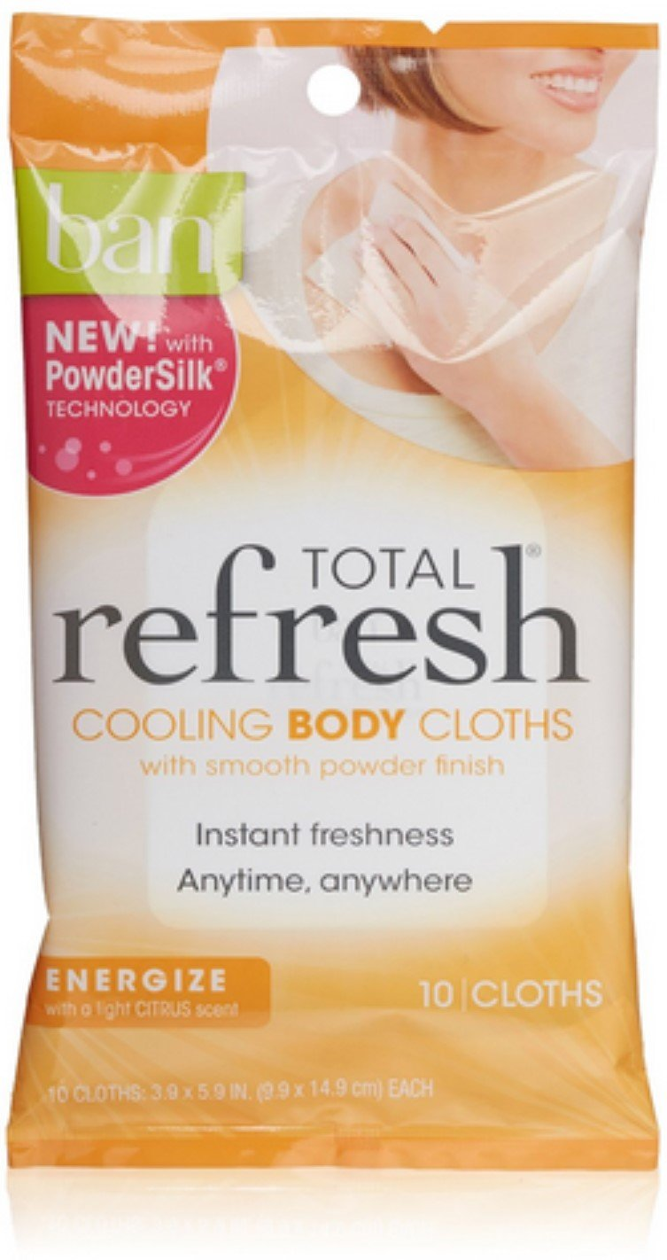 Ban Total Refresh Body Cooling Cloths, Light Citrus Scent 10 ea (Pack of 4)