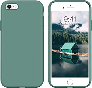 GUAGUA iPhone 6s Case iPhone 6 Case Liquid Silicone Soft Gel Rubber Slim Thin Light Microfiber Lining Cushion Texture Cover Shockproof Full Body Protection Phone Cases for iPhone 6/6S Pine Green