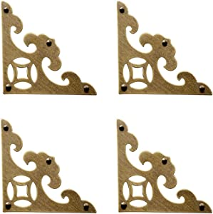 Tiazza 4Pcs Vintage Brass Antique Decorative Box Corner Protector Triangle with Screws,Wooden Jewelry Gift Box Cabinet Chest Accessories Guard Edge Cover Flat Corner Braces(Antique Bronze)