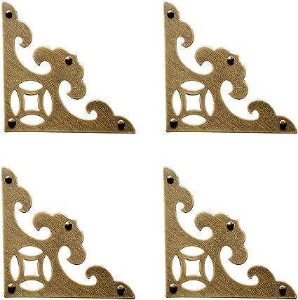 CUTOOP 8Pcs Vintage Triangle Bronze Furniture Corner Brackets Decorative Box Corner Protector Wooden Jewelry Chest Wine Case Gift Box Cabinet Accessories Guard Edge Cover Flat Corner Brace with Screw