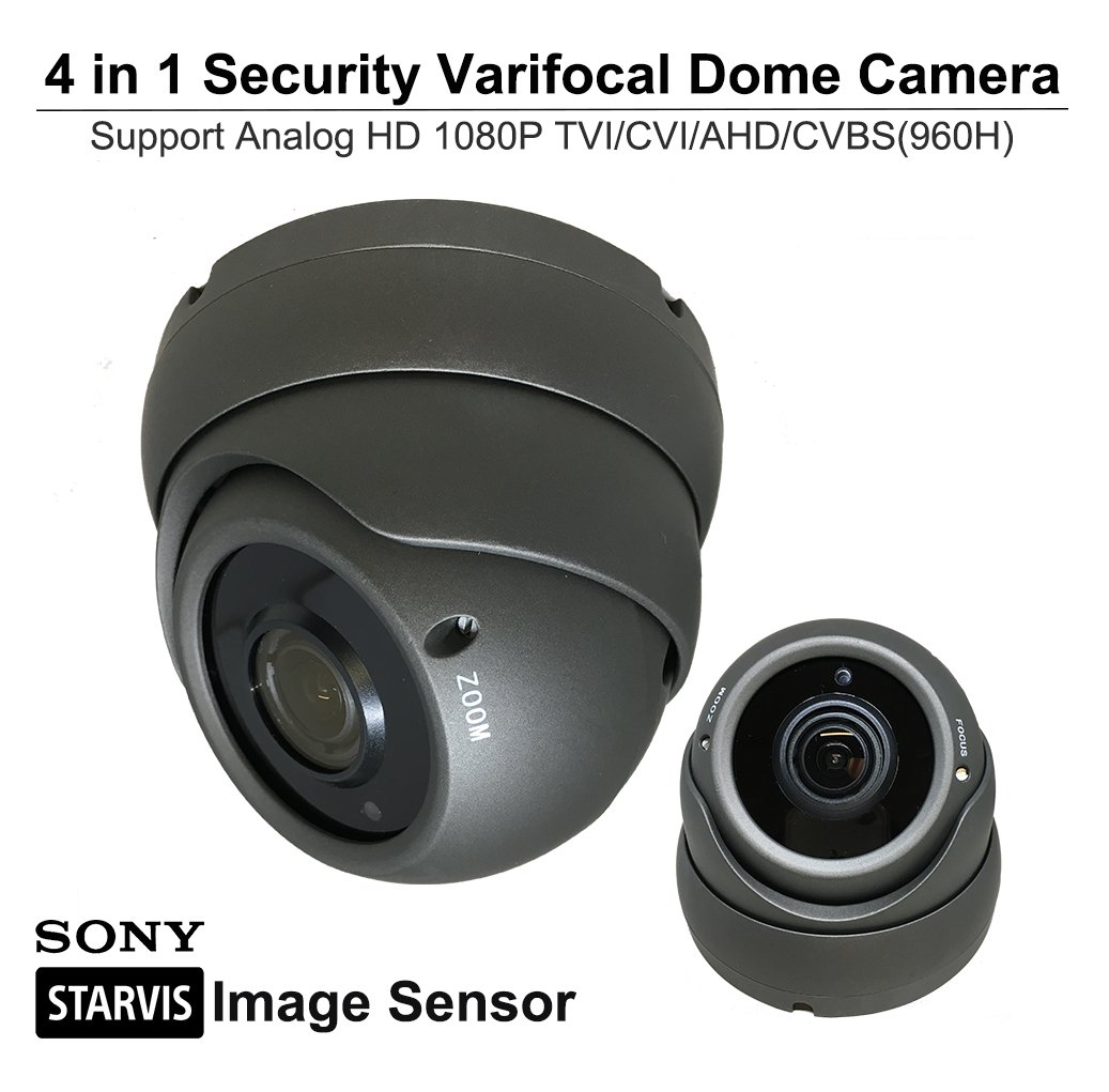 101AV 1080P True Full-HD Security Dome Camera 2.8-12mm Variable Focus Lens 2.4Megapixel STARVIS Image Sensor IR in/Outdoor OSD Works w/ 1080P TVI 1080P AHD 1080P CVI & Standard Recorder only