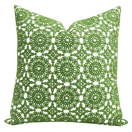 SLOW COW Cotton Embroidery Decorative Throw Pillow Cover Cushion Cover for Couch Sofa Bedroom Flower Pattern Pillowcase Accent Pillow Cover 18 x 18 Inches Green
