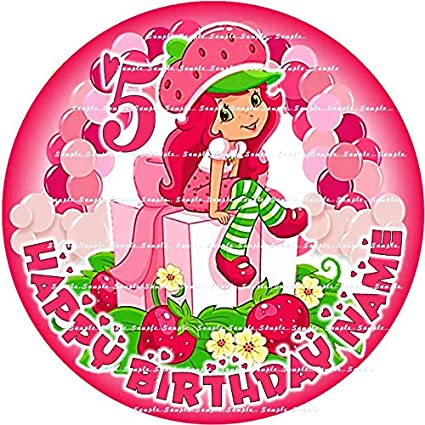 Sensational Strawberry Shortcake Personalized Round Rectangle Edible Funny Birthday Cards Online Elaedamsfinfo