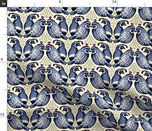 Spoonflower Quail Fabric - Bird Decorative Elements Birds Traditional Home Decor Fowl Wings Feathered Avian Print on Fabric by The Yard - Denim for Sewing Bottomweight Apparel Home Decor Upholstery