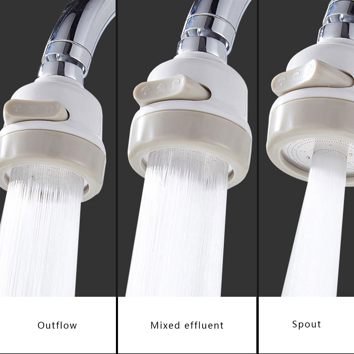 360 Degrees Rotatable Faucet Sprayer Nozzle Water Saving Diffuser 3 Flows Perfect for Kitchen Bathroom