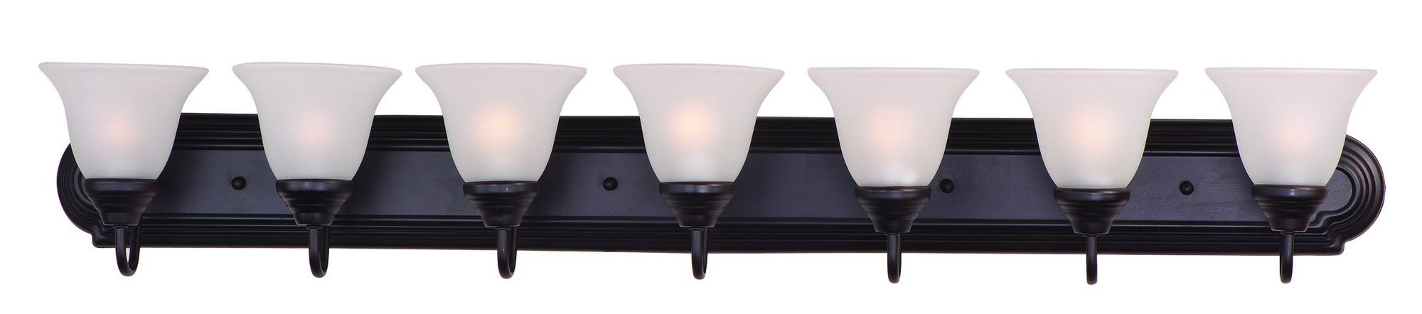 Maxim 8016FTOI Essentials 7-Light Bath Vanity, Oil Rubbed Bronze Finish, Frosted Glass, MB Incandescent Incandescent Bulb , 60W Max., Dry Safety Rating, Standard Dimmable, Opal Glass Shade Material, Rated Lumens