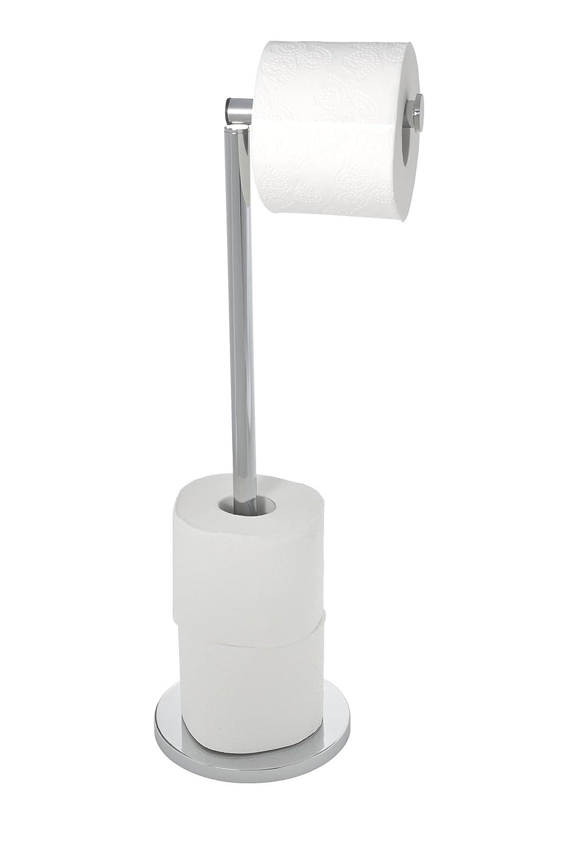 Wenko 19637100 Stand Toilettenpapierhalter 2 in 1, Edelstahl rostfrei, 17 x 55 x 21 cm, Glänzend Glänzend