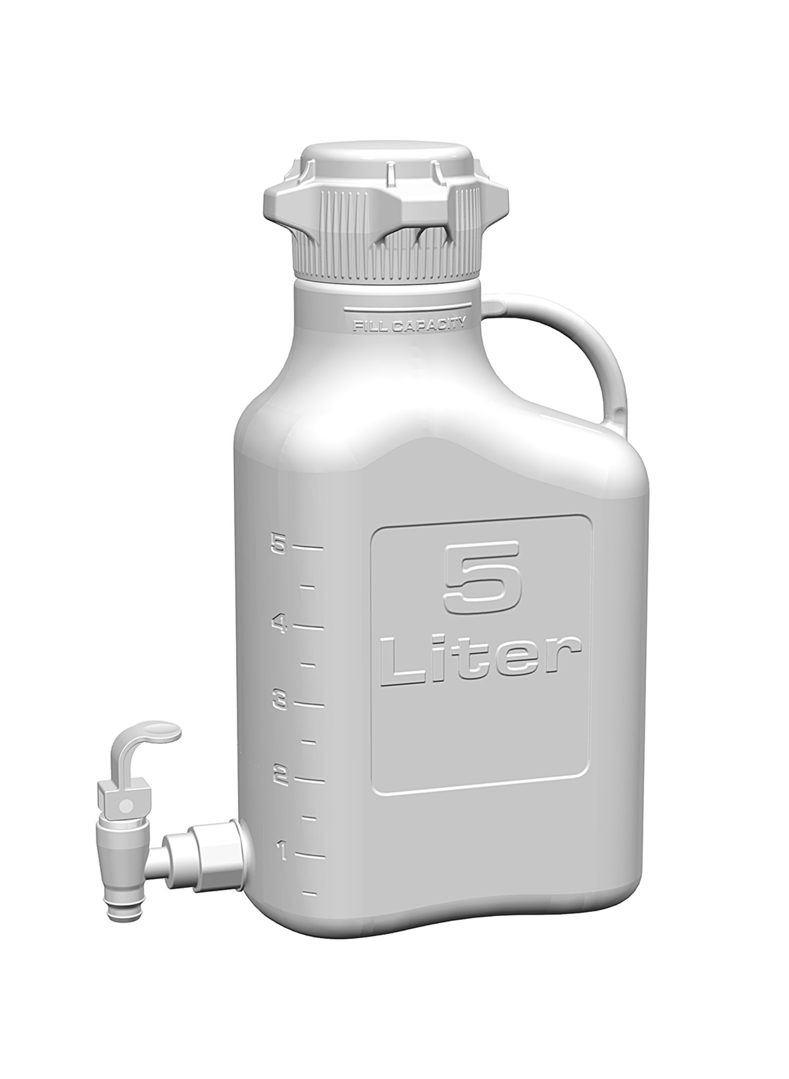 EZgrip 5L (1 Gal) HDPE Space Saving Carboy with Leakproof Spigot, 83mm (83B) VersaCap and 6.9L Max Capacity